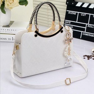 Brand Ladies Leather Enamel Handbag Messanger Tote White