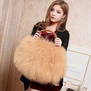 [ 2020NewItem ] Tibet Fur Tote Bag Cow Leather Bag Fur Bag Ladies Bag A/W