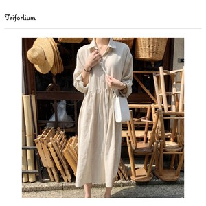 [ 2020NewItem ] Material Leisurely Shirt One-piece Dress