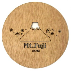 Japanese Craft Plates & Utensil Wooden Round Coaster Mt. Fuji