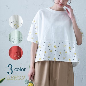 S/S Lemon Embroidery Blouse