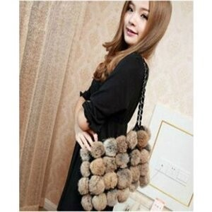 [ 2020NewItem ] Bonbon Attached Fur Bag Shoulder Fluffy Rabbit fur Bag Ladies