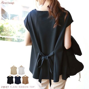 ponte fabric Ribbon Flare Blouse