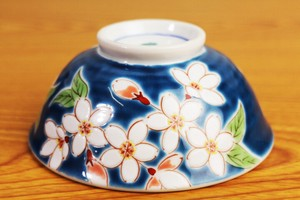 Overglaze Enamels Rice Bowl Four Seasons Flower Sakura