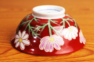 Overglaze Enamels Rice Bowl Four Seasons Flower Cosmos