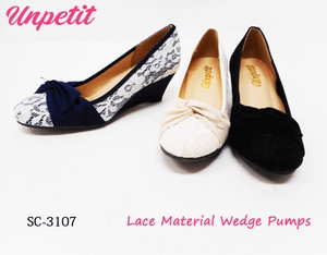 Lace Wedged Pumps Round SC