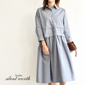 S/S Shirt Gather Flare Switching One-piece Dress