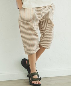 Unisex Linen Cotton Dot Stripe Checkered Sarrouel Three-Quarter Length Pants