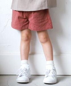Girls Waist Ribbon Dot Checkered Stripe Cotton Shor Pants