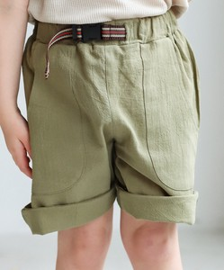 Linen Cotton Waist Belt Half Pants