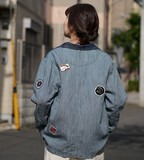 S/S Denim Hickory pen Attached Work Jacket