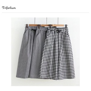 3 Types Size Checkered Material 8/10Length Pants