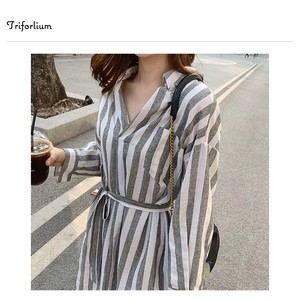 [ 2020NewItem ] 2 Colors Material Stripe One-piece Dress