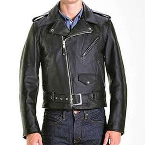 Star Double Motorcycle Leather Jacket Black Model
