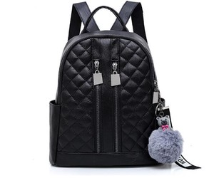 Solid Color Leather Diamond Girl Backpack soft Face Ladies Backpack
