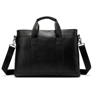 Genuine Leather Business A4 size Book Bag iPad Storage Commuting Shoulder Bag Black