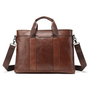 Genuine Leather Business A4 size Book Bag iPad Storage Commuting Shoulder Bag