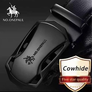 Brand Fashion Buckle Black Genuine Leather Belt Men's Belt Cow Leather Belt for Men