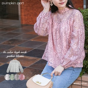 Color Scheme Lace Petit Neck Gather Blouse