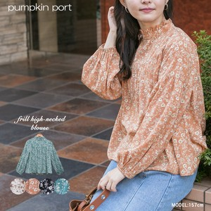 Floral Pattern Frill Petit Neck Gather Blouse