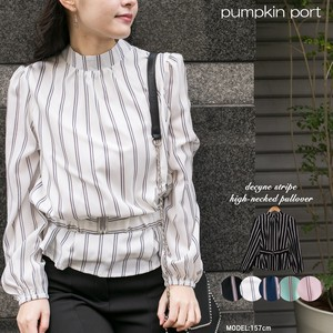 [ 2020NewItem ] Stripe Fabric Belt Attached High Neck Blouse