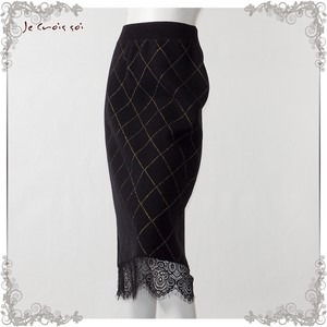 1 Color Knitted Skirt lame Checkered Pattern Lace Skirt Lady