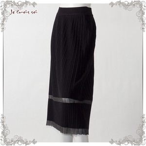 1 Color Knitted Skirt Tuck Pleats lame Switch Skirt Lady