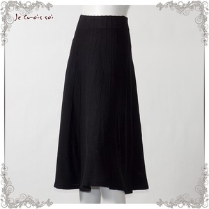 1 Color Knitted Skirt Tuck Flare Skirt Lady