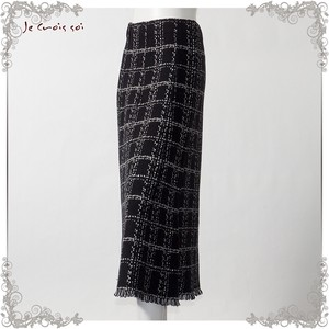 1 Color Knitted Skirt Checkered Flare Skirt Lady