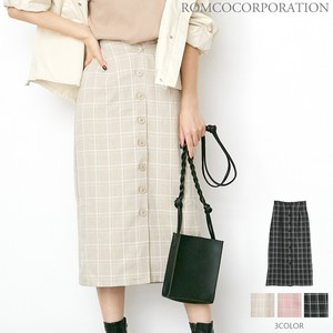 Checkered Front Button Skirt