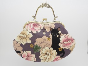 Feeling Coin Purse Bag Base Peony Cat Gray Purple