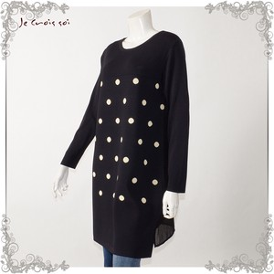 [ 2020NewItem ] 2 Colors Material Knitted Tunic Dot Jacquard Knitted Tunic Lady