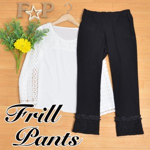 Pants Cropped Pants Ladies Waist Frill Adult