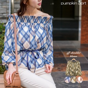 [ 2020NewItem ] Bias Checkered Off-Shoulder Blouse