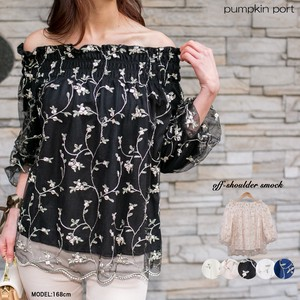 [ 2020NewItem ] Floral Pattern Embroidery Off-Shoulder Three-Quarter Length Blouse
