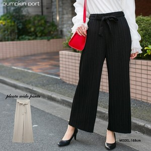 Stripe Belt Ribbon Attached wide pants