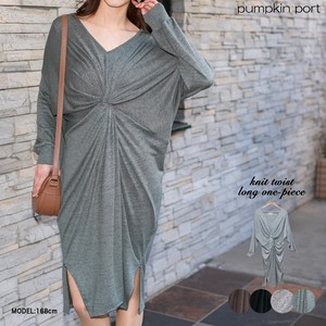 [ 2020NewItem ] Gauze Knitted Front Twist V-neck Long One-piece Dress