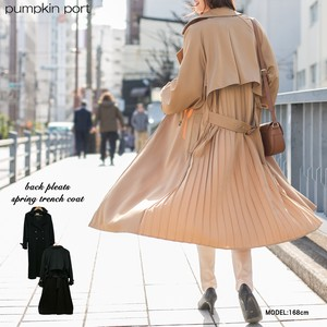 Plain Twill Bag Pleats Bag Belt Attached Trench Spring Coat