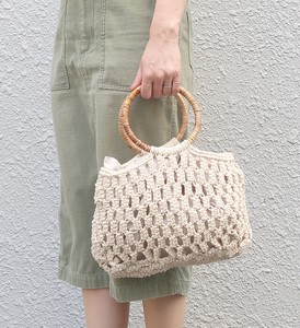 Merry Macrame Handle Mesh Bag Natural Material