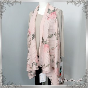 [ 2020NewItem ] 5 Colors Pleats Processing Vest Large Format Rose Print Stole Vest