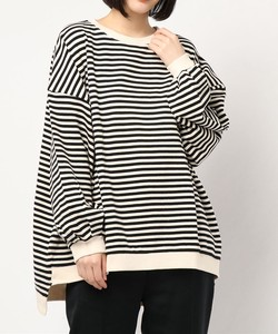 Over Silhouette Volume Sleeve Border Sweat