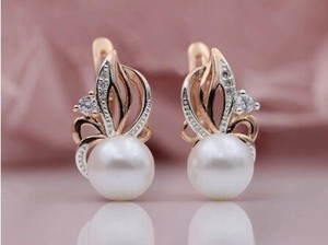 Rose Gold Shell Pearl Drop Earring White Party Jewelry