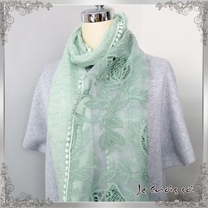 [ 2020NewItem ] Material rose Print Matching rose Lace Over Processing Stole