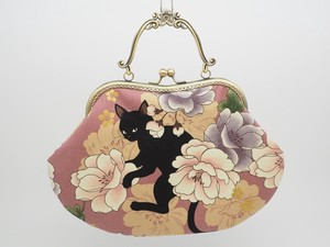 Feeling Coin Purse Bag Base Peony Cat Pink