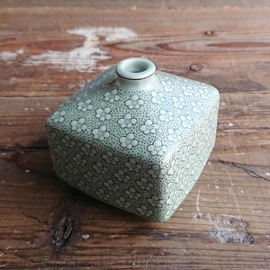 Pottery Put Square Floret Pattern Bright Green