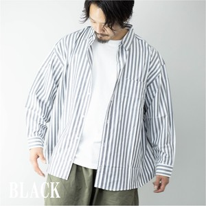 [ 2020NewItem ] Long Sleeve Shirt Men's Stripe Big Silhouette Over Stripe Shirt