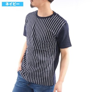 Short Sleeve T-shirt Crew Neck Stripe Multi Stripe Cut And Sewn