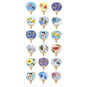 Japanese Style Sticker Colorful Japanese Style Fan / Hand Fan