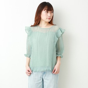 Pleats Dobby Dot Flickering Blouse Half Length [ 2020NewItem ]