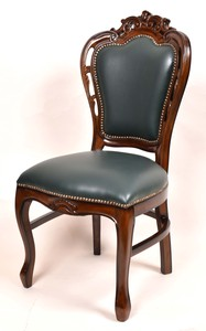 Mahogany Dining Chair Green Synthetic Leather
